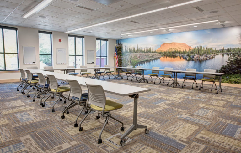 photo: CMC Morgridge Commons Board Room with John Fielder photo mural.